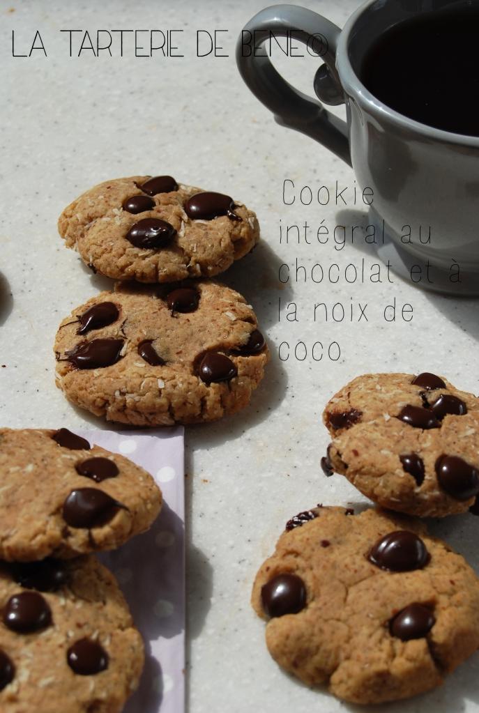 cookie intégral chocolat et noix et coco